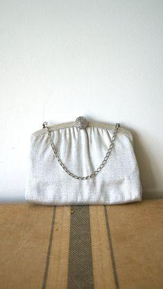 Vintage Clutch Sparkly Silver Evening Bag by NewOldFashionVintage