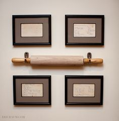 ❤Cute wall display, must remember❤ **Kitchen Wall** Old family recipes handwritten and framed hung alongside a hand-me-down rolling pin.