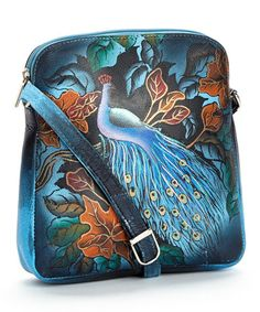 Another great find on #zulily! Blue & Orange Peacock Hand-Painted Crossbody Bag by Biacci #zulilyfinds