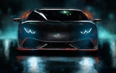 Download wallpapers 4k, Lamborghini Huracan, art, 2017 cars, tuning, supercars, black huracan, Lamborghini