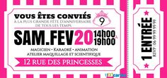 Invitation anniversaire Ticket princesse
