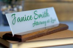 Desk Accessories Wood Desk Name Plate for Office makes a great Teacher or Employee Gift 10x2.5