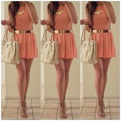 Short dress♡ #orangey #cute