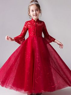 Lace Sequined Mesh Applique Stand Collar Seven-Tenths Sleeves Long Full Dress Kids Frocks, Frocks For Girls, Gowns For Girls, Little Girl Dresses, Flower Girl Dresses, Girls Dresses, Dresses For Kids, Long Frocks For Kids, New Baby Dress