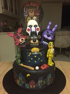 """Five Night's at Freddy's 4"" birthday cake"