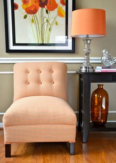 Accent Chair in Orange Houndstooth. $375.00, via Etsy.