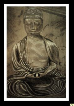 #Drawings; #Charcoal drawings; #Buddha. By Shae Martinez. All rights reserved.