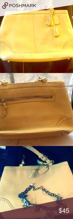 Authentic Vintage leather Coach Handbag Get this now do you not lag. Beautiful buttery 100% hundred percent leather vintage coach bag in good vintage condition available.  I have the serial number . Lots of inside and much room extremely well made reasonable offers accepted. THIS IS A VINTAGE ITEM WHILE IN AMAZING CONDITION IT IS NOT THE SAME AS BEING NEW OFF THE RACK AT BLOOMINGDALES . IT HAS BEEN CLEANED  AND  THEN STORED . VINTAGE CLOTHING HAVE A QUALITY AND DURABILITY SECOND TO NONE…