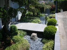 Dry Creek Bed with rocks, boxwoods, & Mondo grass: Japanese Garden - Asian - landscape - san diego - Envision Landscape Studio Inc.