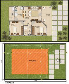Projetar Casas | Planta de casa térrea com 2 quartos, varanda e coz americana - Cód 44
