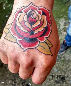 Traditional rose tattoo done! By me, IG: @Tondrik_Tattoo