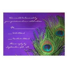 Peacock Wedding Invitations Purple Foil Peacock Wedding RSVP cards