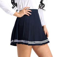 MSemis Women's School Uniforms Pleaded Mini Skirts High Waisted Flared Sport Skater Skirts Plus Size Pleated Mini Skirt, Mini Skirts, Skater Skirts, Skater Dress, High Waisted Flares, High Waisted Skirt, School Uniform Girls, School Uniforms, Girls School