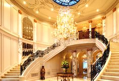 this is what we'd like to walk down everyday. #chandelier #staircase