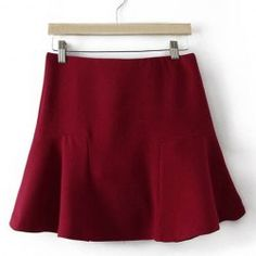 $11.35 Simple Design Women's Solid Color Ruffles Skirt