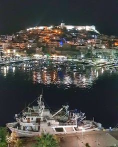 Kavala town by night, east Macedonia, Greece Places To Travel, Places To See, Greek Isles, Acropolis, Best Cities, Ancient Greece, Paris Skyline, Macedonia Greece, Cyprus