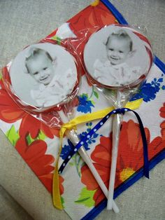 Sucker favors complete with picture of birthday girl as a child.
