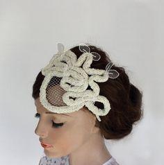 Unconventional Bridal Hair Fascinator Headband by MammaMiaBridal