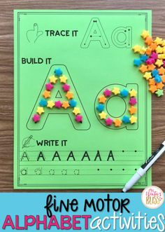 Fine motor alphabet activities are a fun learning center for preschool and kindergarten kids. Get free printables to use with your children today! Preschool Writing, Preschool Letters, Preschool Lessons, Preschool Crafts, Toddler Learning, Fun Learning, Preschool Learning Centers, Kindergarten Literacy Centers, Kindergarten Learning