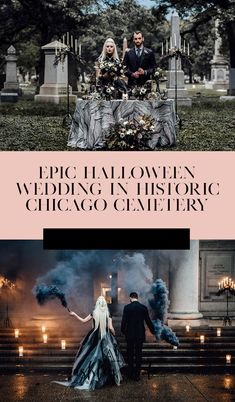 How to throw a Halloween wedding in a historic cemetery in Chicago! ideas cake Halloween Wedding in a Cemetery Halloween Wedding Decorations, Halloween Ideas, Halloween Cakes, Halloween Weddings, Halloween Wedding Dresses, Spooky Halloween, Halloween Bride, Halloween 2019, Wedding Reception Planning
