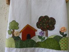 The Country Kitchen Towels House Quilts, Fabric Houses, Baby Quilts, Applique Quilts, Embroidery Applique, Embroidery Patterns, Sewing Crafts, Sewing Projects, Strip Quilts