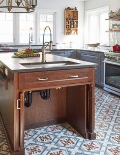 Before & After: A Hacienda-Style Makeover Focused on Accessibility – Design*Sponge Kitchen Sink Organization, Kitchen Sink Design, Kitchen Rug, Boho Glam Home, Spanish Revival, Modern Office Design, Hacienda Style, Kitchen Cabinetry, House Design