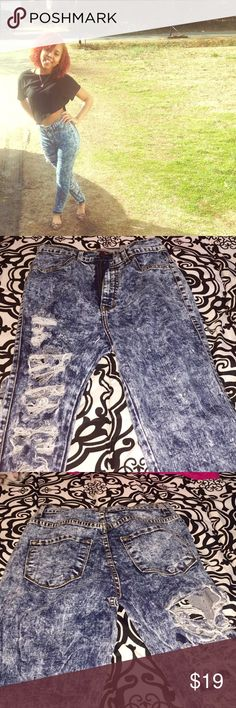 Distressed High waist jeans Cute one sided distressed High waist jeans - size 11 but after washing can fit size 4-6!! (Trust me I'm tiny, they were given to me big but after a few washes fit nice) Jeans Skinny
