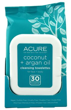Acure Organics Argan Oil plus Coconut Cleansing Towelettes -- 30 Towelettes