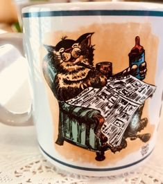 Vtg-Coffee-Mug-This-House-Maintained-Cat-Frank-Jones-Parody-Graphics-Humor-1986