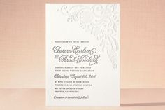 Floral Embroidery Letterpress Wedding Invitations by Hooray Creative at minted.com