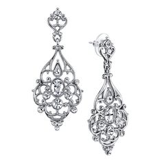 1928 Silver-Tone Crystal Victorian-Style Filigree Large Drop Earrings ($60) ❤ liked on Polyvore featuring jewelry, earrings, clear crystal earrings, crystal jewelry, crystal earrings, holiday earrings and 1928 earrings