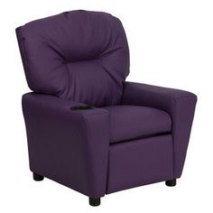 Flash Furniture Contemporary Purple Vinyl Kids Recliner with Cup Holder BT-7950-KID-PUR-GG