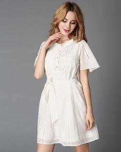 VIPme (VIPSHOP Global) - GUSTAVO ARANGO White Folds A-Line Plain Dress - AdoreWe.com