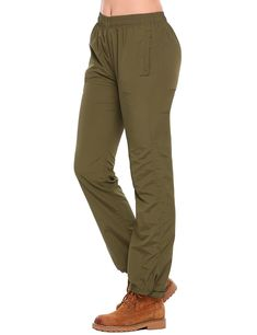 fbf0914650f9 Women s Quick Dry Outdoor Waterproof Hiking Mountain Pants Drawcord  Adjustable Waist and Leg - Olive Green - CE185YDQMA9