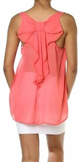 Coral Chiffon Blouse with Bow Back $18