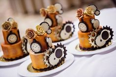Individual steampunk wedding cakes from Disney. Photo by White Rabbit Photo Boutique.