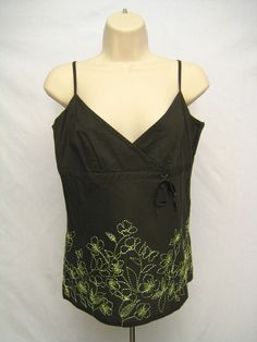 H&M Brown Tank Top with Hand Embroidered Bright Green Flowers Women's Sz 10 #HM #TankCami #Casual