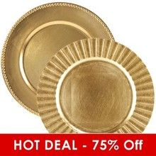 Gold Lacquer Chargers - HOT DEAL
