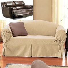 Reclining SOFA Slipcover Suede Sand SureFit Recliner Couch Cover