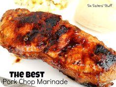 Pork Chop Marinade Six Sisters' Stuff: AMAZING Pork Chop Marinade--This marinade has a hint of sweetness.Six Sisters' Stuff: AMAZING Pork Chop Marinade--This marinade has a hint of sweetness. Grilling Recipes, Pork Recipes, Cooking Recipes, Healthy Grilling, Kabob Recipes, Chicken Recipes, Easy Pork Chop Marinade, Just In Case, Recipes