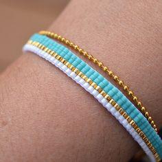 """32 kedvelés, 1 hozzászólás – Marina (@artistic.bracelet) Instagram-hozzászólása: """"Bracelet 2 en 1 turquoise blanc et doré avec sa chaîne à bille. A retrouver sur la #boutique! Bonne…"""""""