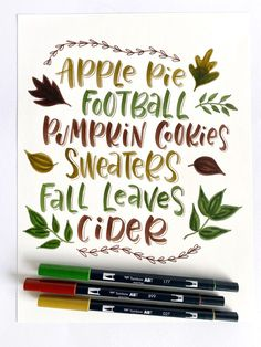 Hand Letter a Fall Print with Dual Brush Pens @tombowusa #handletter Tombow Usa, Letter N Words, Tombow Dual Brush Pen, Fall Color Palette, Modern Calligraphy, Autumn Inspiration, Autumn Leaves, Pens, Hand Lettering
