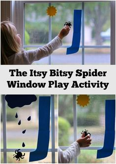 Itsy Bitsy Spider Window Activity for Kids! Simple nursery rhyme game your preschooler will love!