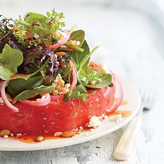 """Watermelon """"Steak"""" Salad - 57 Quick & Delicious Summer Salad Recipes - Southern Living"""