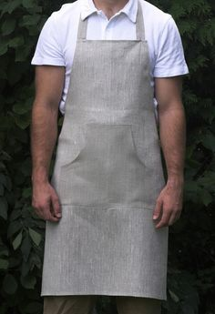 Cafe Natural Linen Apron. smart cafe uniform. full apron, shirt and trousers/skirt of choice.