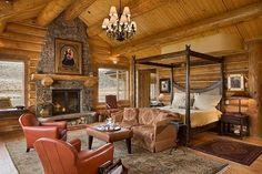 Beautiful Bedroom in a Rustic Log Cabin..