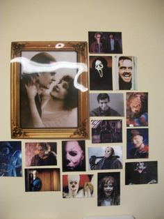 """Use printed photos of scary movie """"killers"""" as decoration for a spooky party."""