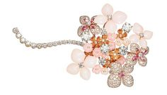 Chaumet Hortensia brooch in pink gold set with angel-skin coral, pink opal, marquise-cut pink tourmalines, brilliant-cut pink sapphires and brilliant-cut diamonds