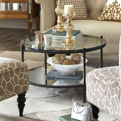 Clara Coffee Table - Gunmetal...... I think having the coffee table as round would bring curves to a all square place