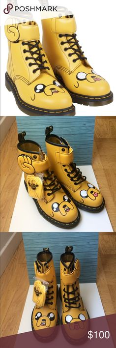 Authentic Dr. Marten's Adventure Time Jake Juniors FOR EVERY DAY ADVENTURES, IN THE LAND OF OOO AND BEYOND, THIS IS THE BOOT. A TRIBUTE TO ADVENTURE TIME'S MAGICAL, SHAPE-SHIFTING JAKE THE DOG, IT'S CRAFTED IN LIGHTWEIGHT, YELLOW SOFTY LEATHER, WITH JAKE'S JOWLY FACE ON THE TOE AND A PADDED, LACE-THROUGH OVER-STRAP SHAPED LIKE HIS HAND.  ---:CONSTRUCTION  THE SOLE IS CEMENTED TO THE UPPER.  ----MATERIAL  A LIGHTWEIGHT, FULL-GRAIN LEATHER, WITH A SOFT FEEL.  New and never worn, this one is…